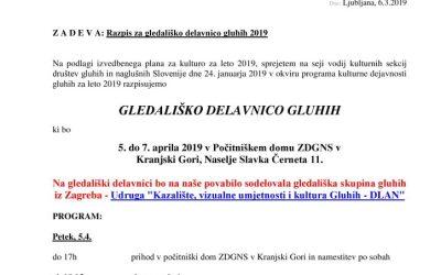 5. – 7. Aprila – Prijavnica za gledališko delavnico gluhih Kranjska Gora 2019