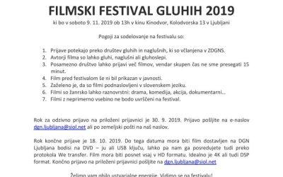 9. 11. 2019 Vabilo na filmski festival gluhih 2019