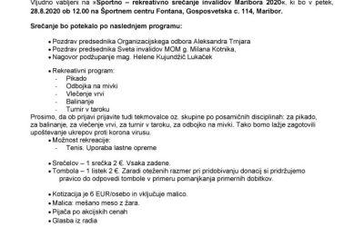 Vabilo in Program za športno rekreativno srečanje invalidov Maribora 2020
